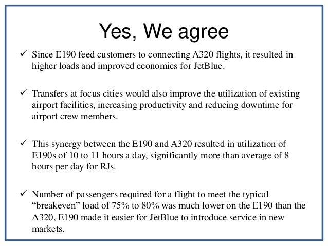 how would you describe jet blues operations strategy prior to november 2005 adoption of e190