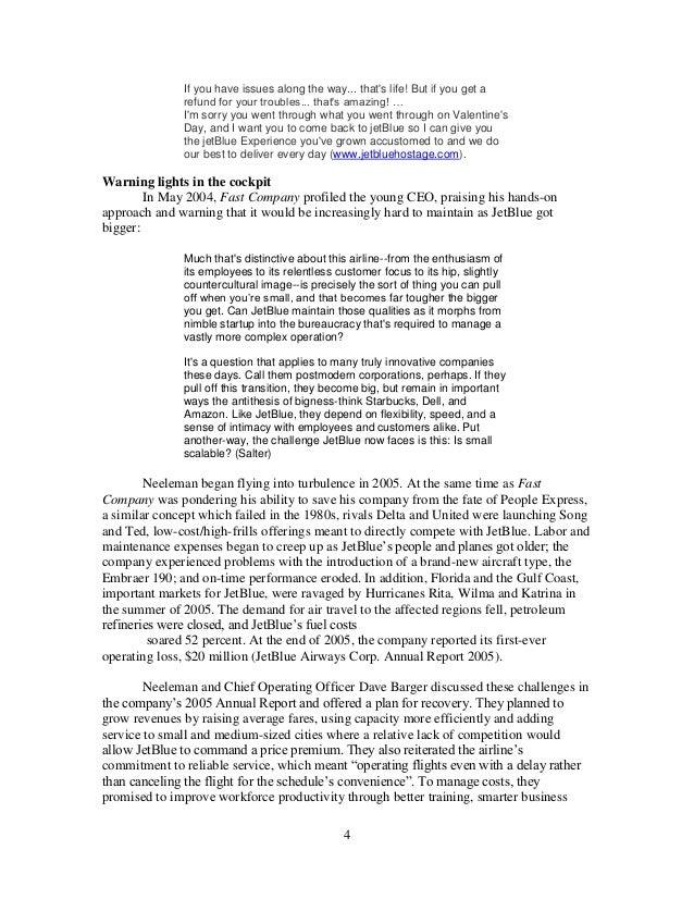 jetblue hits turbulence case study solution