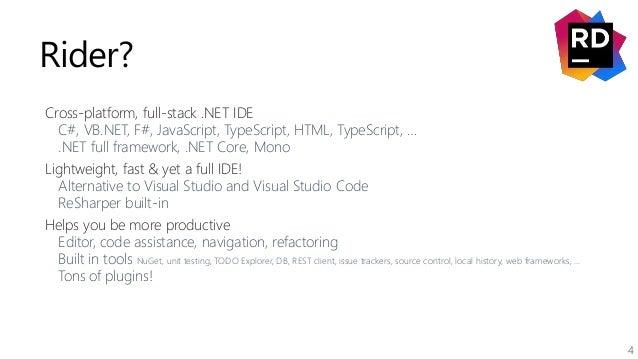 4 Rider? Cross-platform, full-stack .NET IDE C#, VB.NET, F#, JavaScript, TypeScript, HTML, TypeScript, … .NET full framewo...