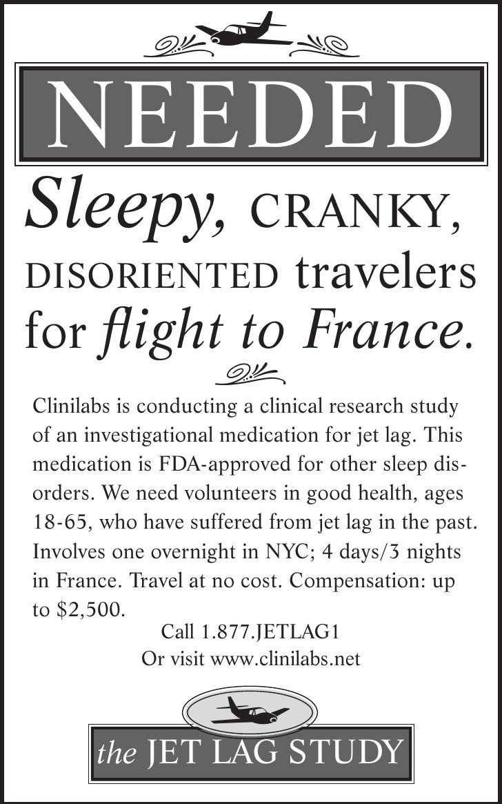 j.             ,  NEEdEd Sleepy, cranky,                               travelers disoriented for flight to France.        ...