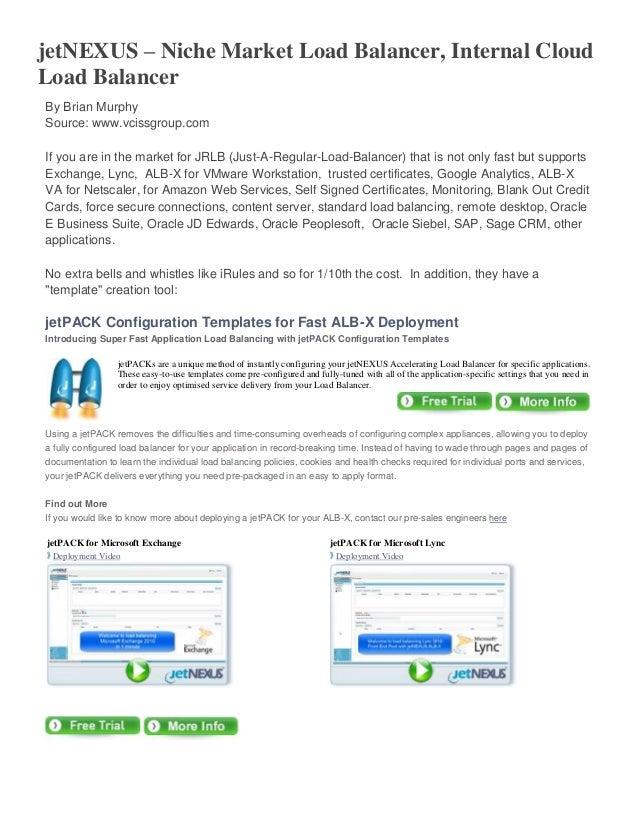 jetNEXUS – Niche Market Load Balancer, Internal Cloud Load Balancer By Brian Murphy Source: www.vcissgroup.com If you are ...