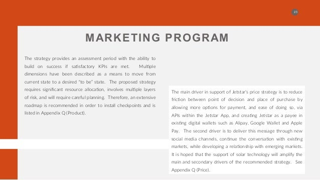 marketing strategy jetstar Marketing plan for jetstar airlnes discuss its marketing strategy, customer demography, etc have also been shared in the solution.