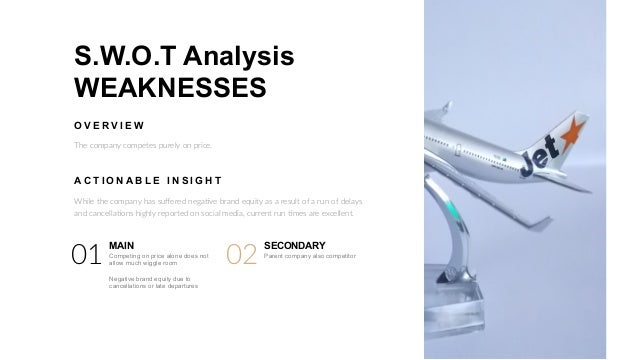 jetstar weaknesses Weaknesses in the swot analysis of qantas airlines weaknesses are used to refer to areas where the business or the brand needs improvement some of the key weaknesses of qantas airlines are.