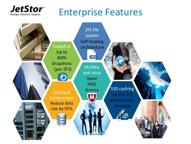 11 Enterprise Features Snapshot Up to 4096 Snapshots (per ZFS) SSD caching Up to x 3.5 performance increase McAfee anti-vi...