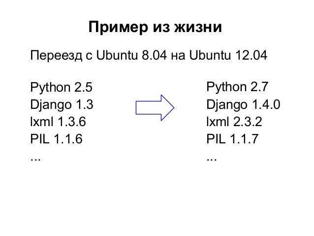 Пример из жизниПереезд с Ubuntu 8.04 на Ubuntu 12.04Python 2.5                 Python 2.7Django 1.3                 Django...