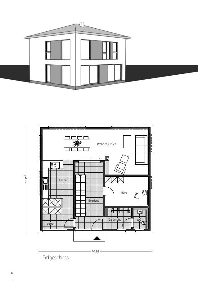 10.205  Wohnen / Essen  Küche  Büro Empfang  Garderobe Vorrat  10.88  Erdgeschoss 14  WC