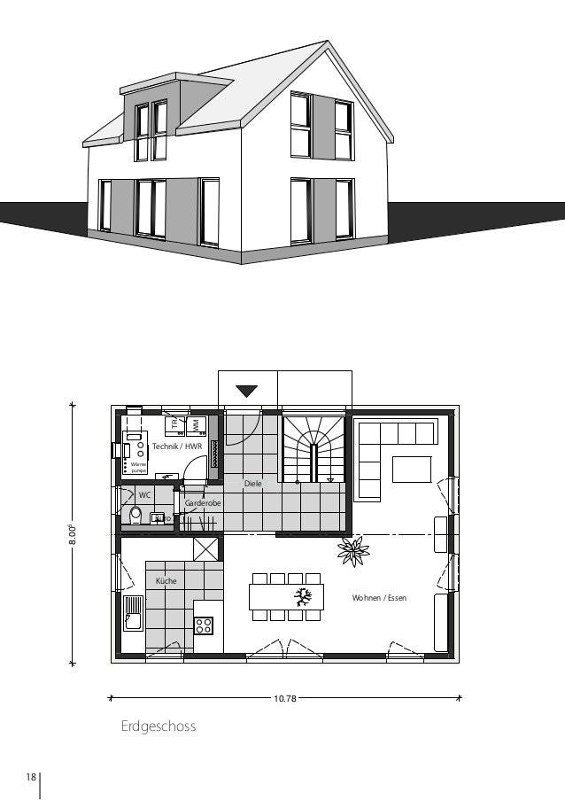 WM  TR  Technik / HWR Wärme pumpe  Diele WC  Garderobe  8.005  Büro 2  Küche Wohnen / Essen  10.78  Erdgeschoss  18