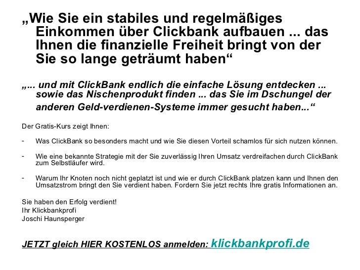 """<ul><li>"""" Wie Sie ein stabiles und regelmäßiges Einkommen über Clickbank aufbauen ... das Ihnen die finanzielle Freiheit b..."""