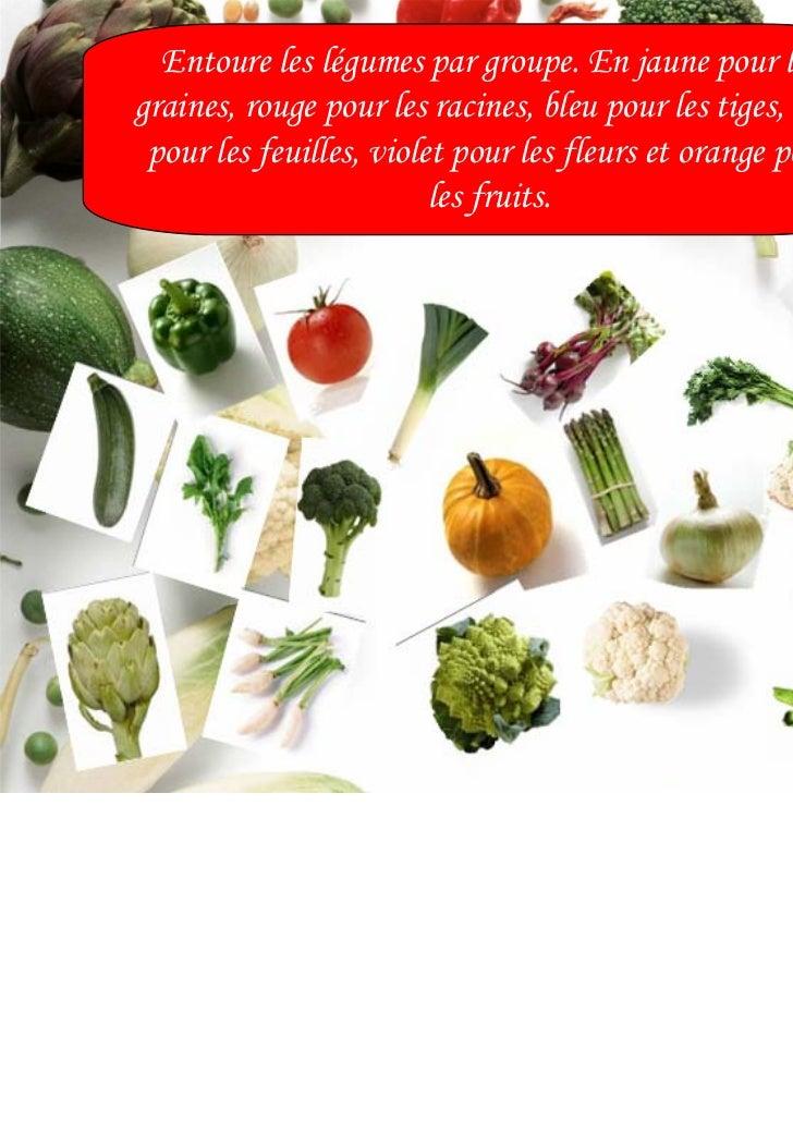 Entoure les légumes par groupe. En jaune pour lesgraines, rouge pour les racines, bleu pour les tiges, vert pour les feuil...