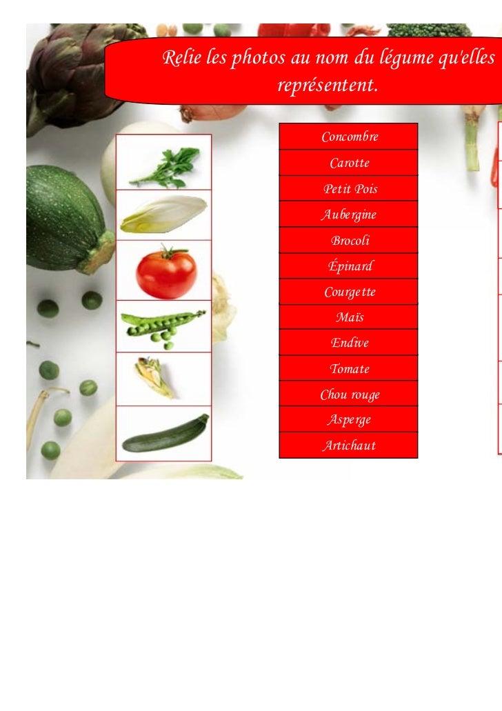 Relie les photos au nom du légume quelles               représentent.                    Concombre                     Car...