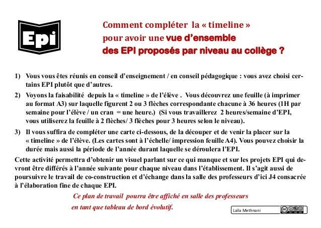 Comment compléter la « timeline » pour avoir une vue d'ensemble des EPI proposés par niveau au collège ? 1) Vous vous êtes...