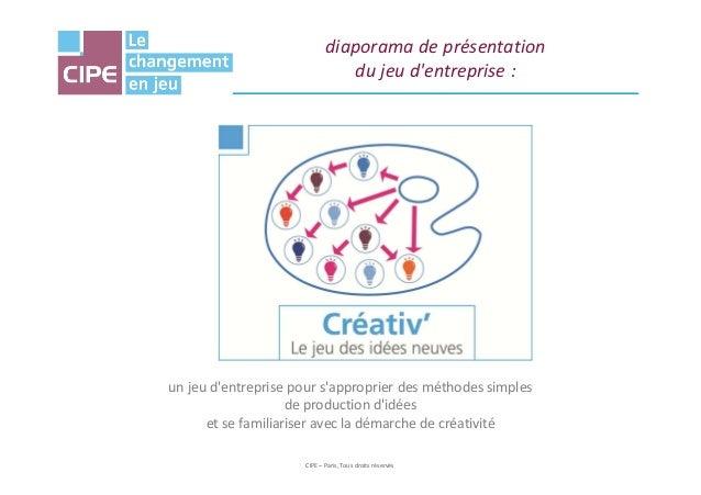 diaporama de présentation du jeu d'entreprise : CIPE – Paris, Tous droits réservés un jeu d'entreprise pour s'approprier d...
