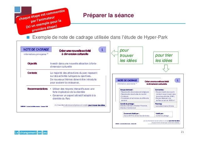 jeuenchangementLe Préparer la séance Exemple de note de cadrage utilisée dans l'étude de Hyper-Park Créer une nouvelleCrée...