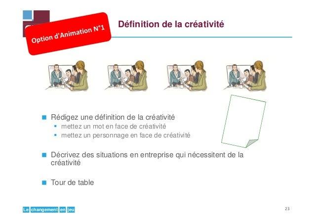 jeuenchangementLe Définition de la créativité Rédigez une définition de la créativité mettez un mot en face de créativité ...