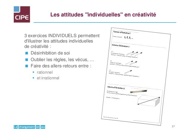 """jeuenchangementLe Les attitudes """"individuelles"""" en créativité 3 exercices INDIVIDUELS permettent d'illustrer les attitudes..."""