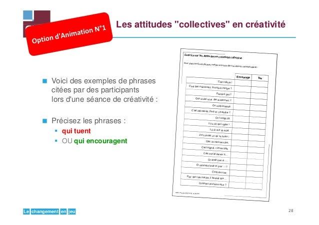 """jeuenchangementLe Les attitudes """"collectives"""" en créativité Voici des exemples de phrases citées par des participants lors..."""