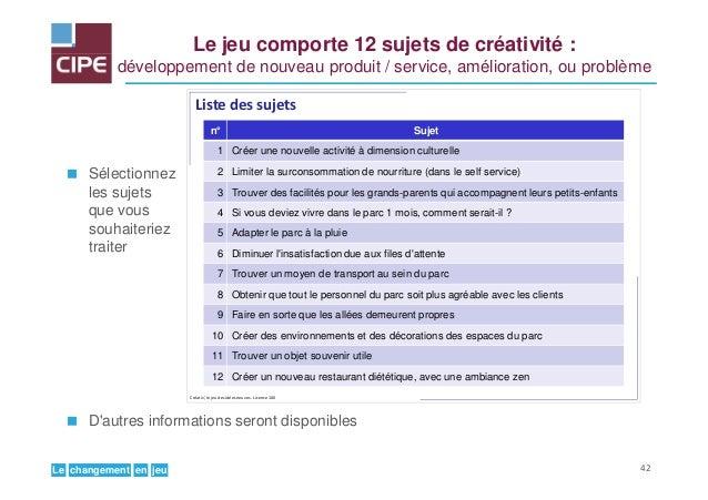 jeuenchangementLe Le jeu comporte 12 sujets de créativité : développement de nouveau produit / service, amélioration, ou p...