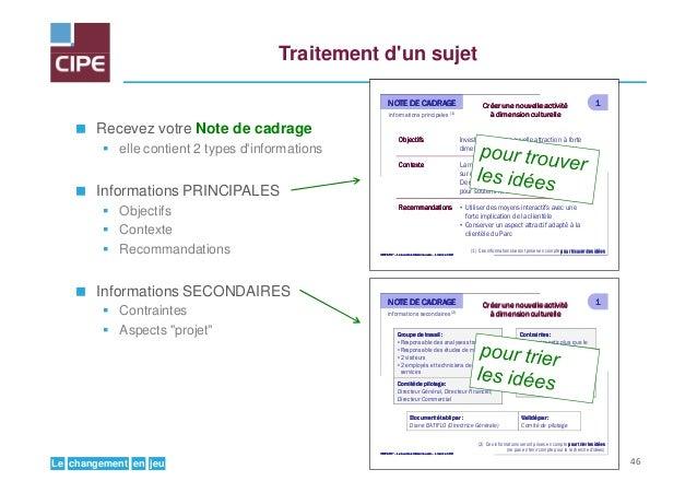 jeuenchangementLe Traitement d'un sujet Recevez votre Note de cadrage elle contient 2 types d'informations Informations PR...