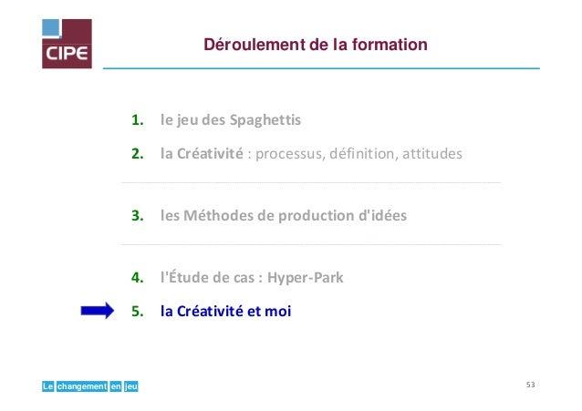 jeuenchangementLe Déroulement de la formation 1. le jeu des Spaghettis 2. la Créativité : processus, définition, attitudes...
