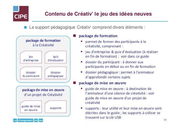 jeuenchangementLe Contenu de Créativ' le jeu des idées neuves Le support pédagogique Créativ' comprend divers éléments : p...
