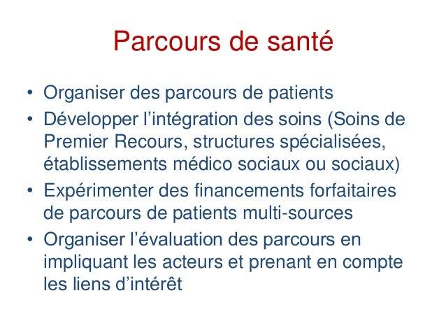 Parcours de santé • Organiser des parcours de patients • Développer l'intégration des soins (Soins de Premier Recours, str...