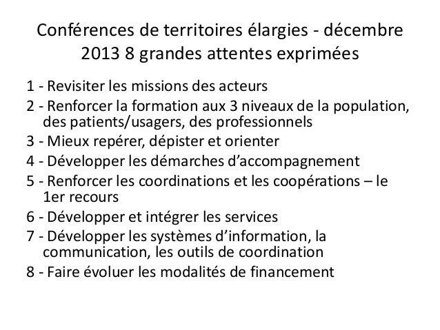 Conférences de territoires élargies - décembre 2013 8 grandes attentes exprimées 1 - Revisiter les missions des acteurs 2 ...