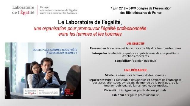 1 Le Laboratoire de l'égalité, une organisation pour promouvoir l'égalité professionnelle entre les femmes et les hommes U...
