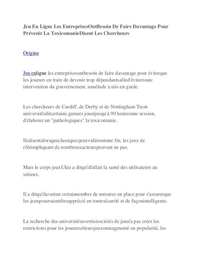 Jeu En Ligne Les EntreprisesOntBesoin De Faire Davantage Pour Prévenir La ToxicomanieDisent Les Chercheurs Origine Jeu enl...