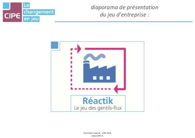 Tout droit réservé - CIPE 2014 www.CIPE.fr diaporama de présentation du jeu d'entreprise :