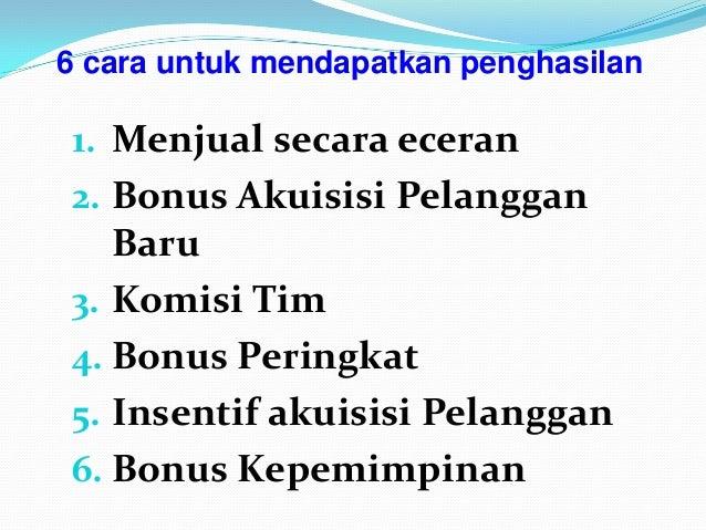 1. Menjual secara eceran 2. Bonus Akuisisi Pelanggan Baru 3. Komisi Tim 4. Bonus Peringkat 5. Insentif akuisisi Pelanggan ...