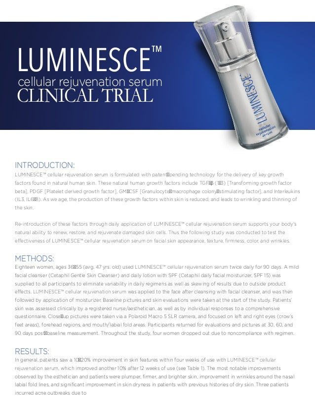 Jeunesse Luminesce Anti-Aging Rejuvenation Serum Clinical Trials