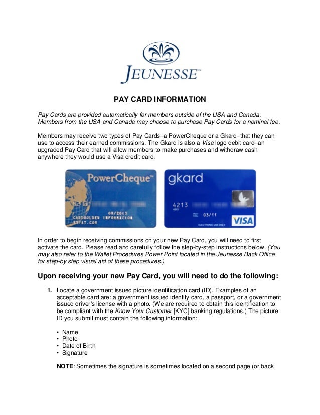 pay card informationpay cards are provided automatically for members outside of the usa and canada - Visa Payroll Card