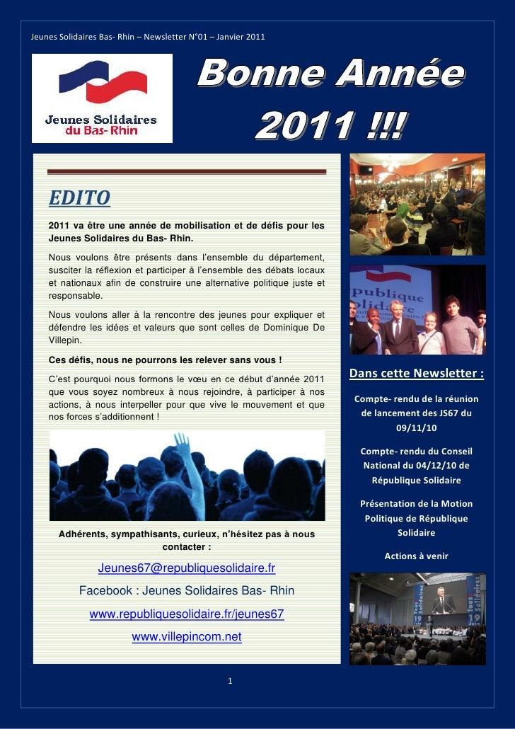 Jeunes solidaires 67 - Newsletter 1 - Janvier 2011