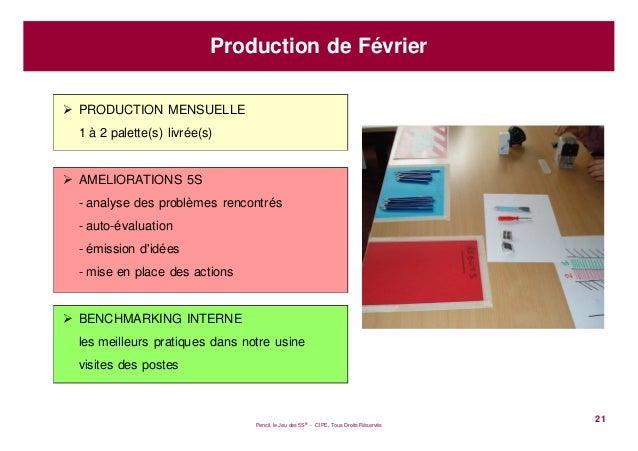 Pencil, le Jeu des 5S® - CIPE, Tous Droits Réservés21Production de FévrierPRODUCTION MENSUELLE1 à 2 palette(s) livrée(s)AM...