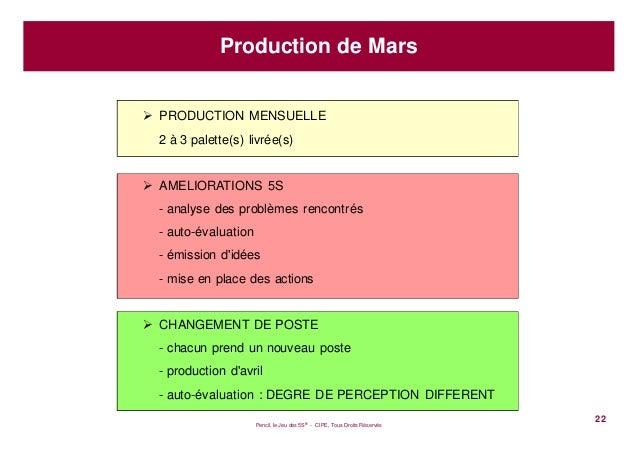 Pencil, le Jeu des 5S® - CIPE, Tous Droits Réservés22Production de MarsPRODUCTION MENSUELLE2 à 3 palette(s) livrée(s)AMELI...