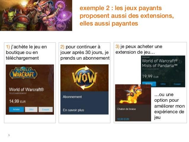 5  exemple 2 : les jeux payants  proposent aussi des extensions,  elles aussi payantes  1) j'achète le jeu en  boutique ou...