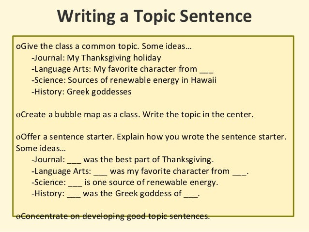great topic sentence starters