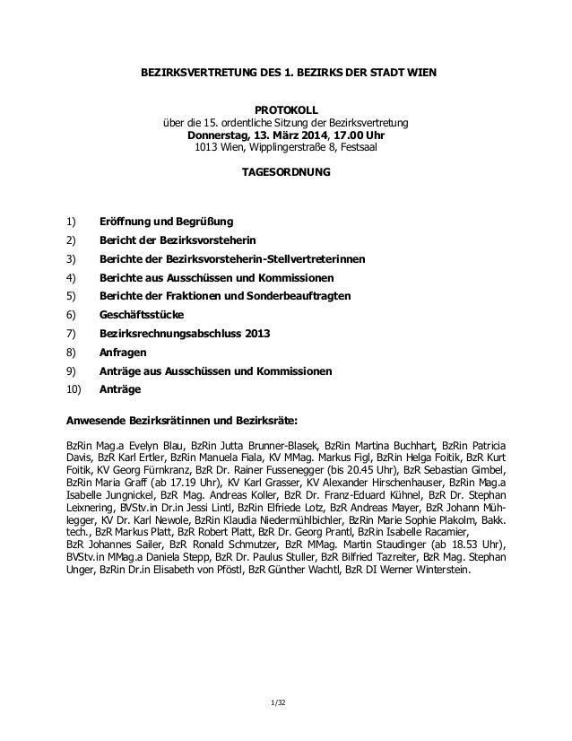 1/32 BEZIRKSVERTRETUNG DES 1. BEZIRKS DER STADT WIEN PROTOKOLL über die 15. ordentliche Sitzung der Bezirksvertretung Donn...