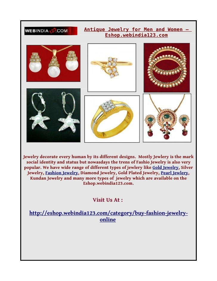 Antique Jewelry for Men and Women –                                     Eshop.webindia123.com     Jewelry decorate every h...