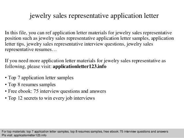 Jewelry Sales Representative Application Letter