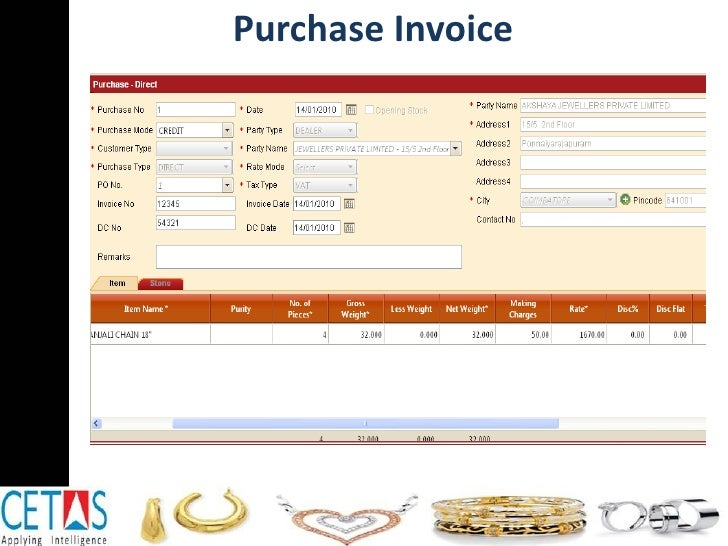 Jewellery Retail Software - Jewelry invoice software