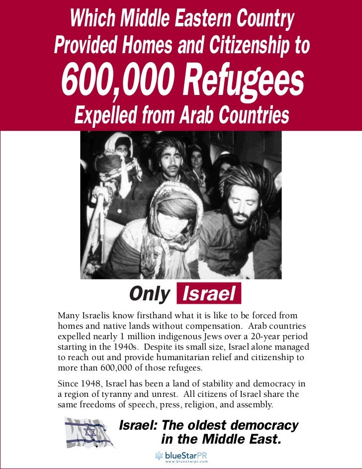 Which Middle Eastern CountryProvided Homes and Citizenship to600,000 Refugees    Expelled from Arab Countries             ...