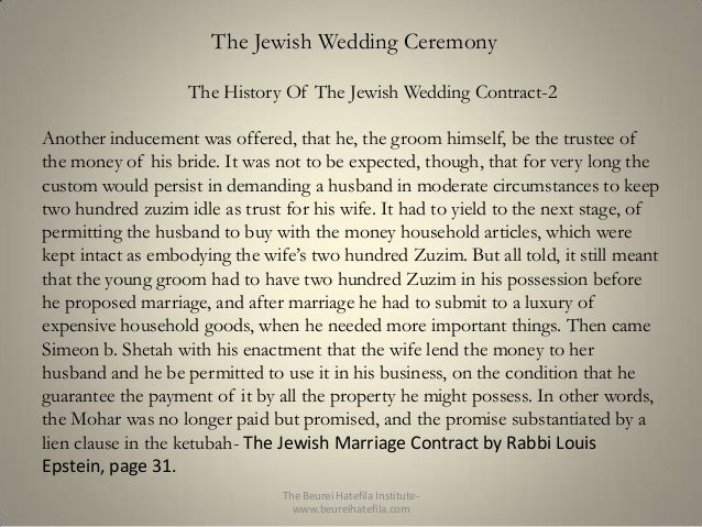 The Beurei Hatefila Institutebeureihatefila 14 Jewish Wedding Ceremony History