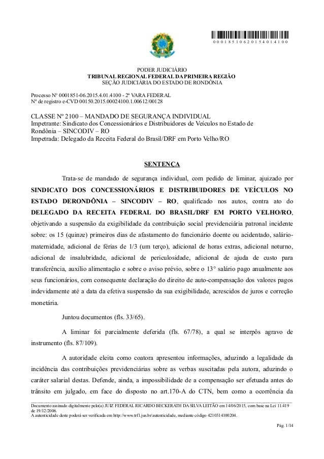 0 0 0 1 8 5 1 0 6 2 0 1 5 4 0 1 4 1 0 0 PODER JUDICIÁRIO TRIBUNAL REGIONAL FEDERAL DA PRIMEIRA REGIÃO SEÇÃO JUDICIÁRIA DO ...