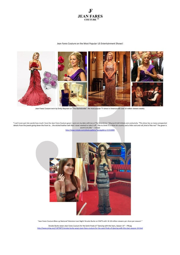 Jean Fares Couture on the Most Popular US Entertainment Shows!-Newsletter May 2012