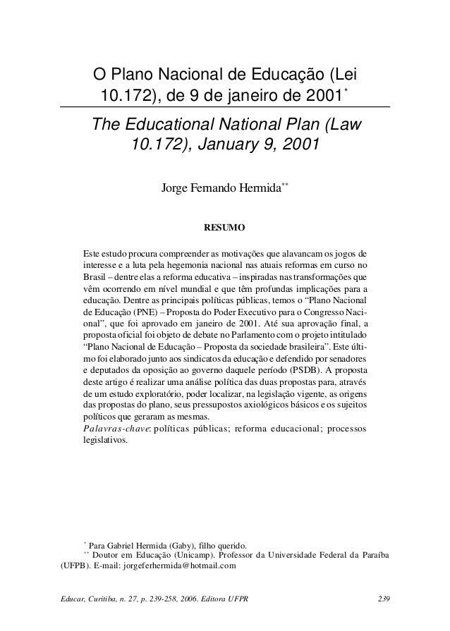 HERMIDA, J. F. O Plano Nacional de Educação...           O Plano Nacional de Educação (Lei            10.172), de 9 de jan...