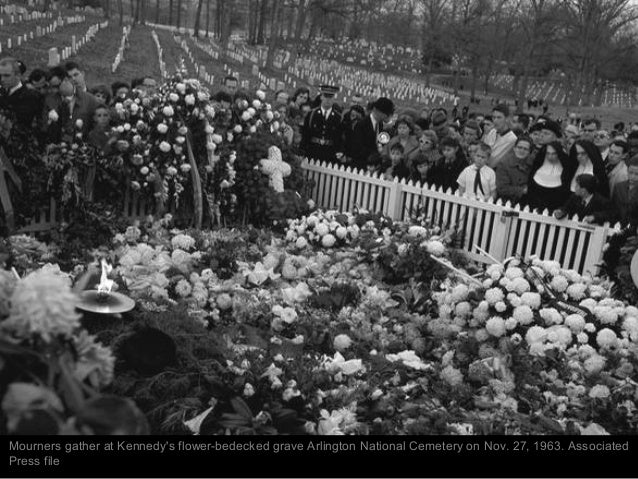Mourners file past President Kennedy's grave in Arlington 1963