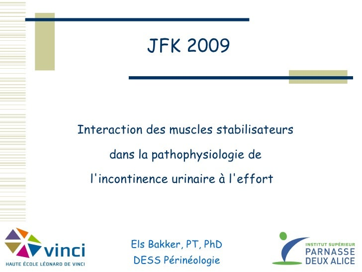 Interaction des muscles stabilisateurs   dans la pathophysiologie de   l'incontinence urinaire à l'effort    JFK 2009 Els ...