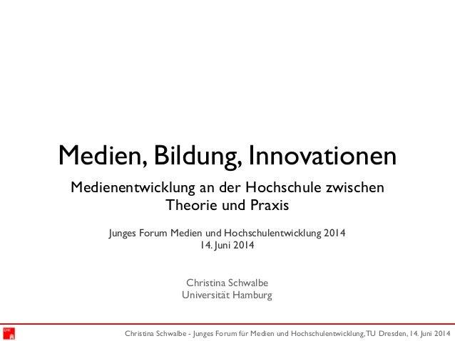 Christina Schwalbe - Junges Forum für Medien und Hochschulentwicklung,TU Dresden, 14. Juni 2014 Medien, Bildung, Innovatio...