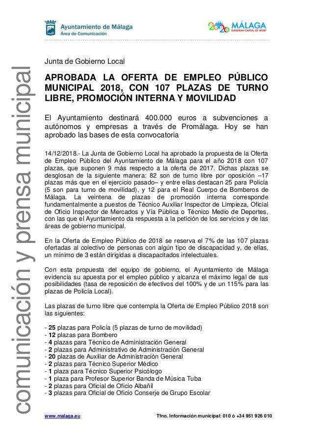 Aprobada La Oferta De Empleo Público Municipal 2018 Con 107 Plazas D